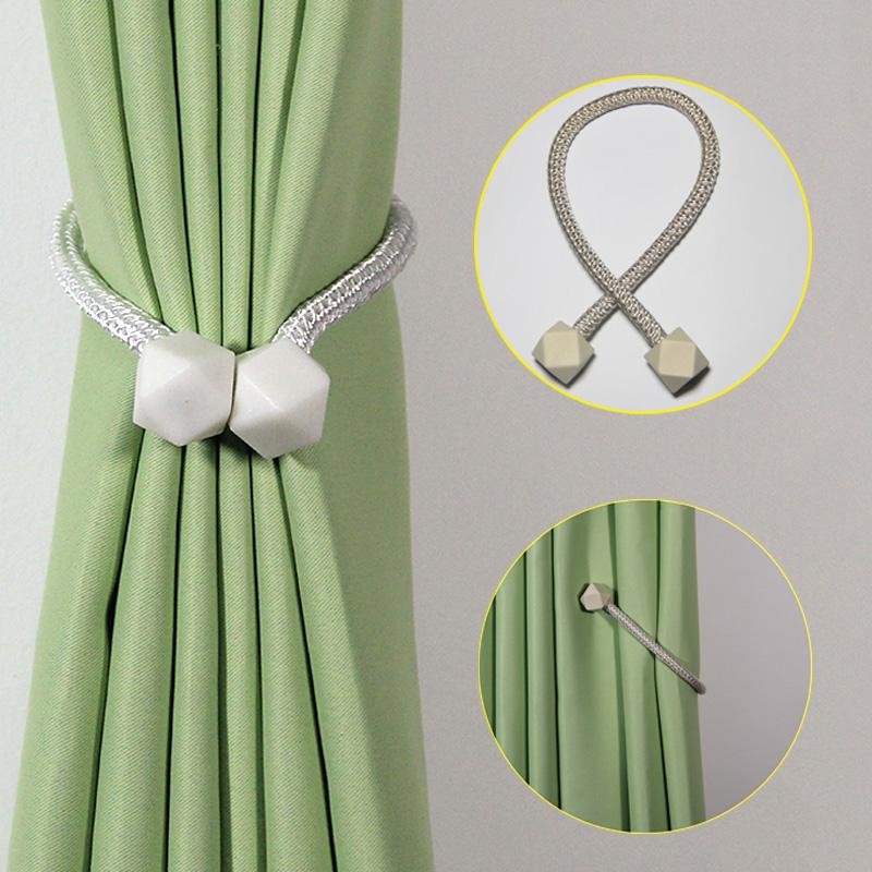 1Pc Magnetic Curtain Clip Tie Knot Decorative Cube Hanging Ball Curtain Rack Rope Room Accessories Sheer Curtains