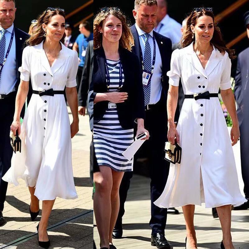 Кейт Мидлтон высокого качества New'S Fashion Party Женщины Повседневная Офис Урожай Элегантный шик Белый однобортный Ветровка платье