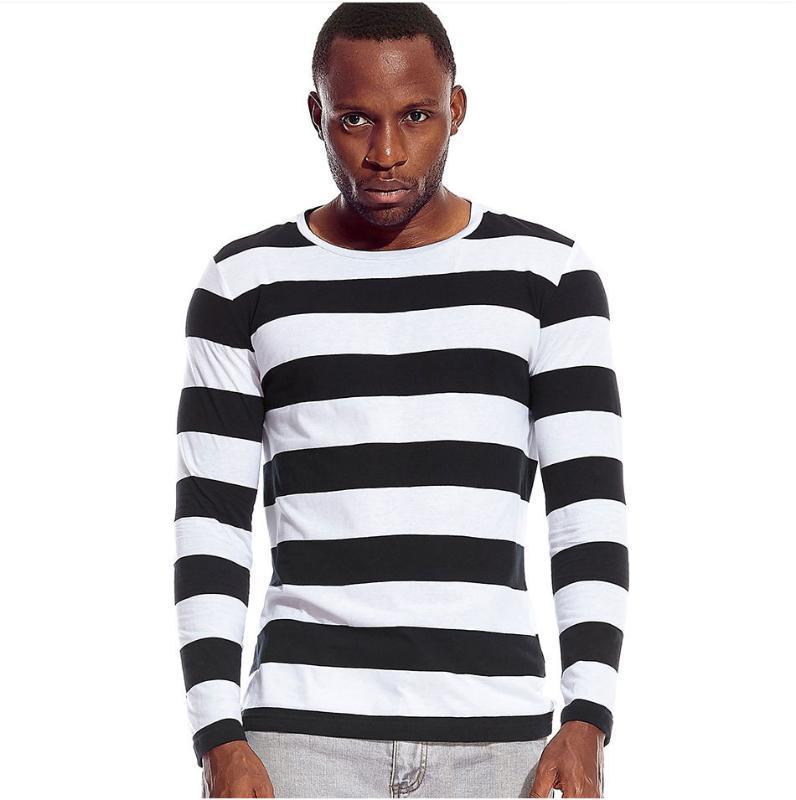 T Shirts Streifen Langarm-T-Shirts für Männer Rundhalsausschnitt-Männer Striped Freizeit beiläufigen Rot Weiß Cos Cosplay Halloween Kostüm-Party