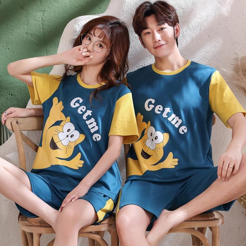 estilo terno de algodão Verão cPCEA coreana feminina de manga curta bonito casa pijama dos homens primavera camisola e outono verão pijama finas casal