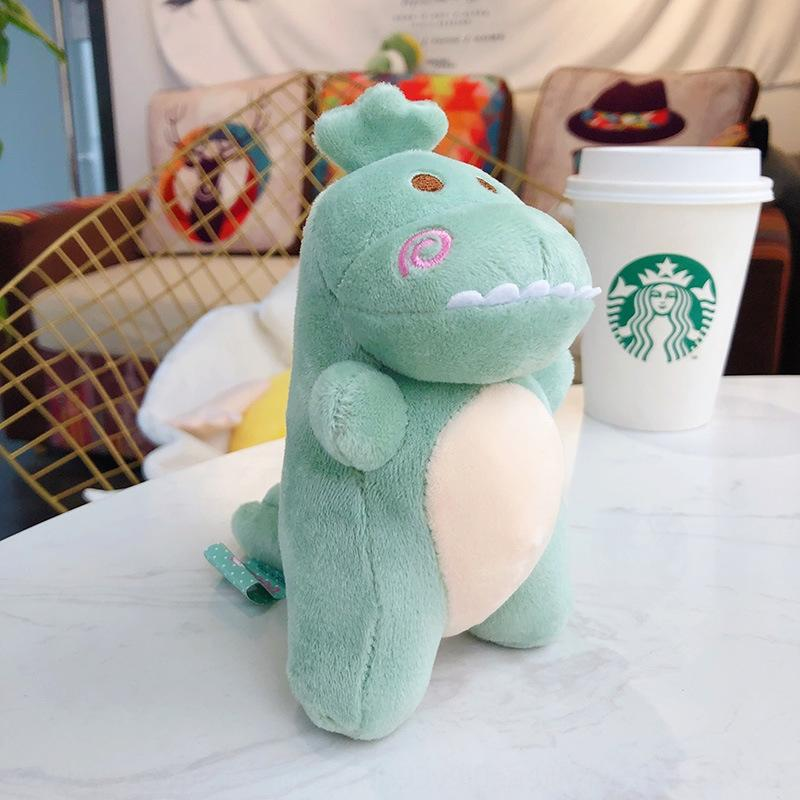 desenho animado aqoNz criativa de pelúcia verde-chave dinossauro pequeno pingente de acessórios cadeia boneca acessórios boneca bonito casal bolsa pingente