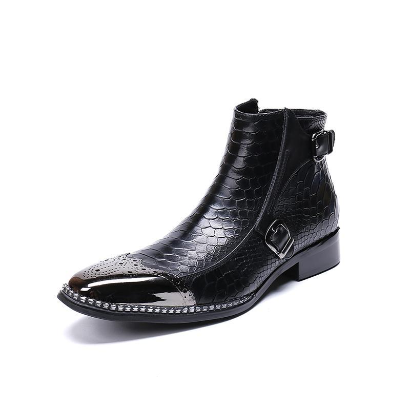 Hombres Botas de invierno de los hombres atan para arriba botas del tobillo de cuero genu zapatos de cuero masculino moda de otoño de negocios Bota Calzado