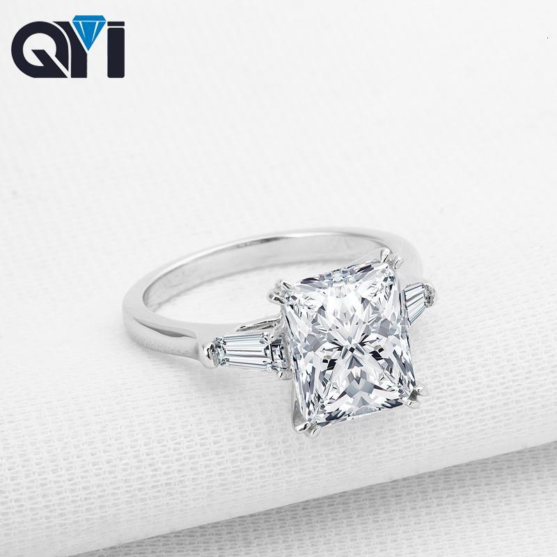 QYI 3 ct Emeral Cut 925 Gümüş yüzükler Moda Kadınlar Nişan Takı Zirkon Bayan Düğün Parmak Çiçek Yüzük Hediye