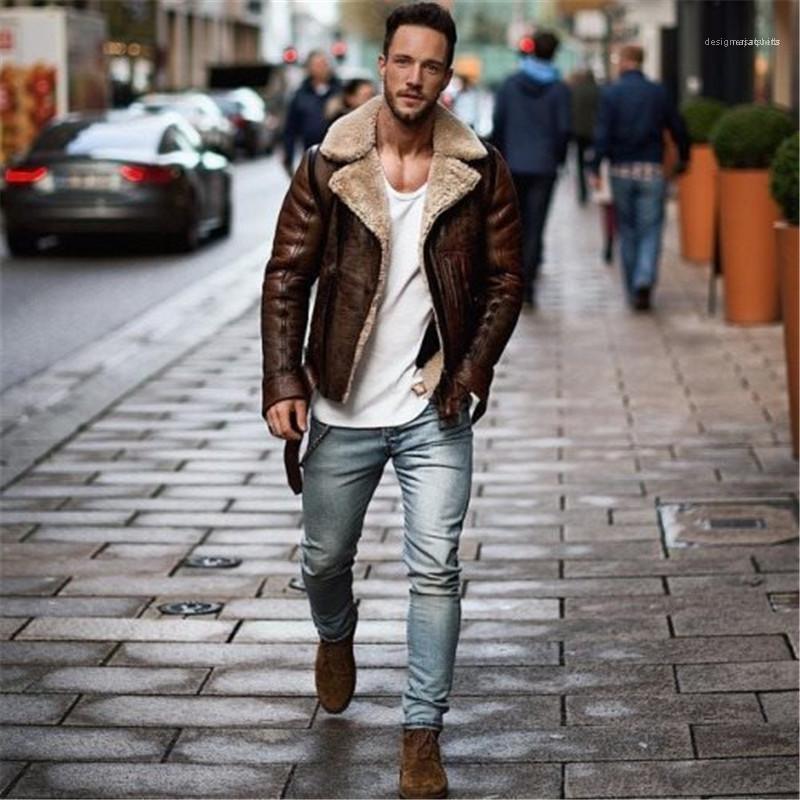 ملابس رجالي الشتاء الرجال فو جاكيتات جلدية أزياء طية صدر السترة الرقبة ملابس مصمم عارضة فضفاض