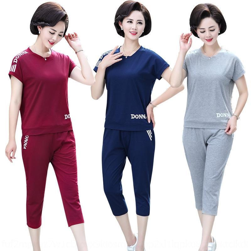 dHjWh x60Iv vêtements de sport maman à manches courtes 50 ans 40 ans T-shirt de course 2020 nouvel été t-shirt âge moyen et les personnes âgées spo femme