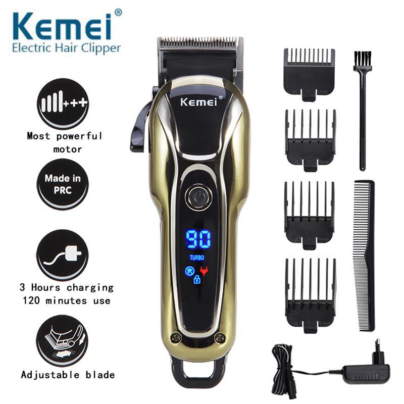 Монитор Kemei Km1990 Мм Профессиональные машинки для стрижки волос бороды мужчин Лысый Триммер Борода Lcd Бритва Clipper Electric волос 5 волос 0 Триммер dfuOG
