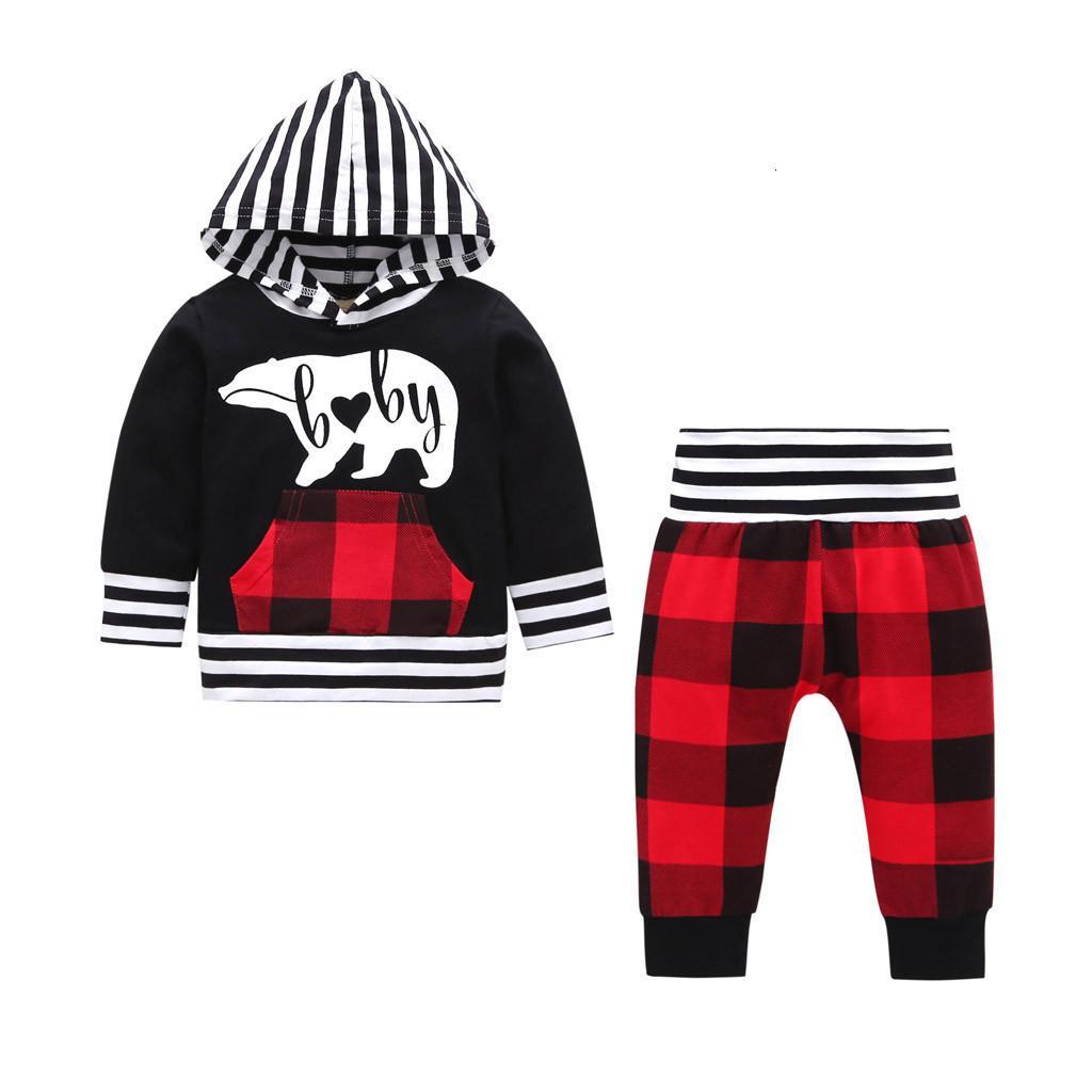 Envío de la manera encantadora del bebé 3pcs del niño recién nacido para niños Niños bebés encapuchadas de la raya camiseta + pantalones a cuadros Trajes Ropa Z0129