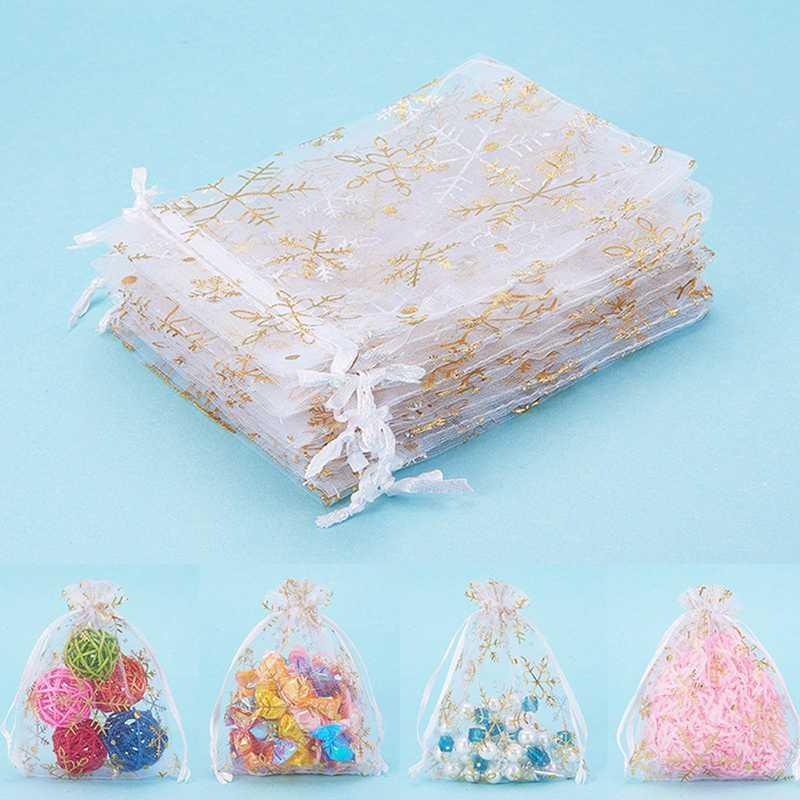 100 gaze presente de casamento floco de neve jóias Nova impressão saco branco sacos brancos órgão organza requintado festa de ouro aniversário sacos de doces vsafp
