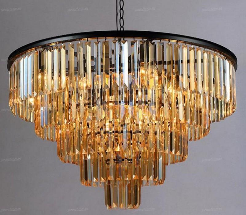 Manggic Crystal K9 Modern Crystal Chandelier Elegant Gray Smoke Crystal Suspension Coffee Lamps Hotel Restaurant