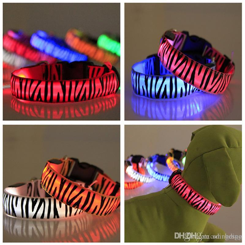 Stripe LED Pet Dog Collar Night Safety LED Light Flashing Glow in the Dark Small Dog Pet Leash Dog Collar Flashing Safety Collar VT0861