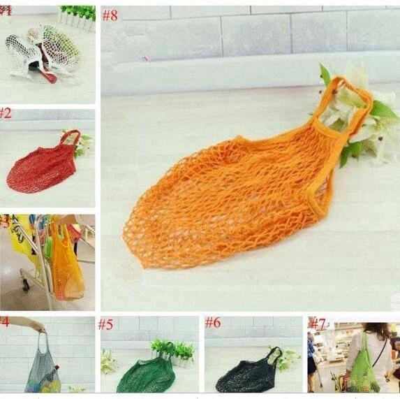 Mesh Net сумки многоразовые сумки Портативные Струнный Покупка товаров Фрукты Овощи Бакалея сумка E Дружественные сплетенный хлопок мешок плеча TL hPoQ #