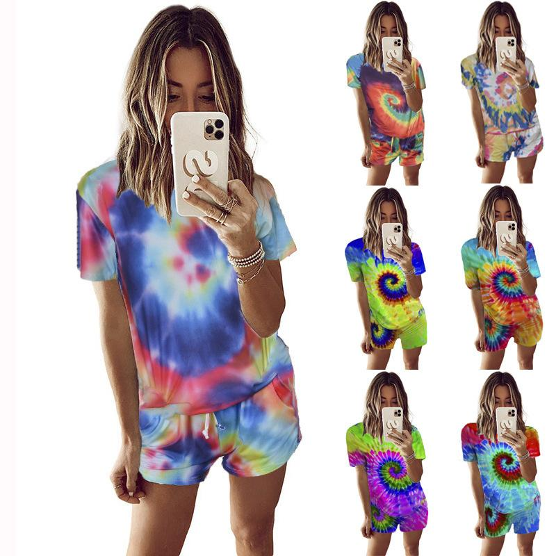 New Women's Clothes Tie-dye Whirlpool Print Sports Plus Size Casual Short Sleeve Tshirt And Shorts Two Piece Set Women Tracksuit