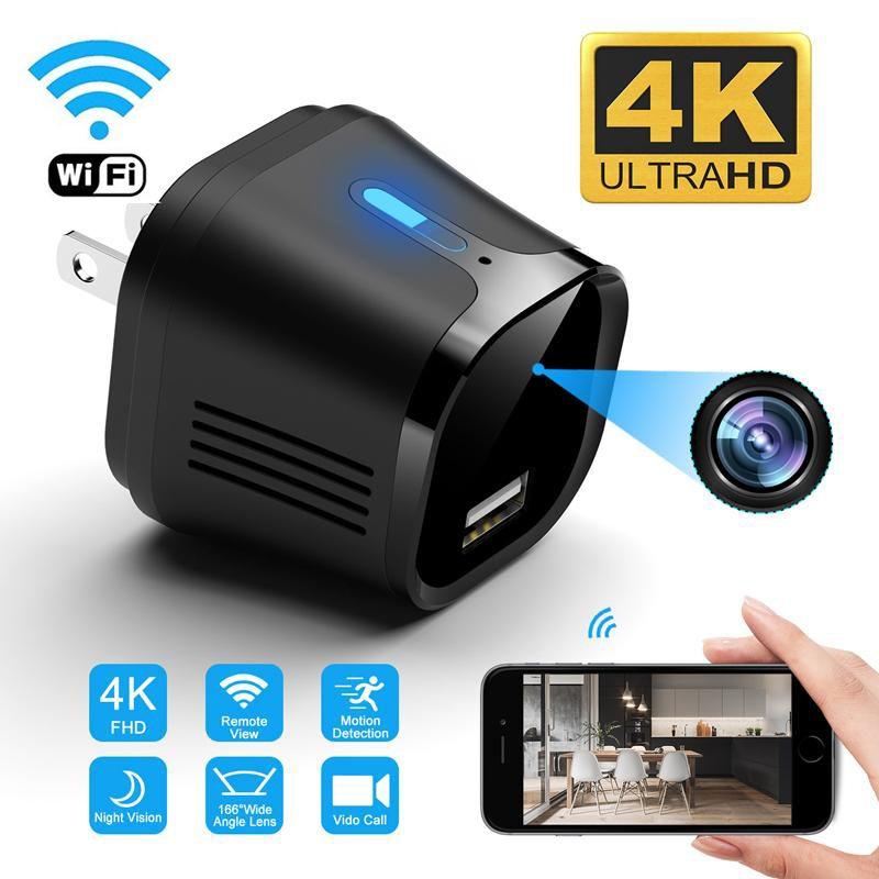 جديد 66 درجة 4K FHD مصغرة wifi المكونات IP كاميرا USB شاحن IPCAM للرؤية الليلية الأمن تسجيل مراقبة كشف الحركة عن بعد