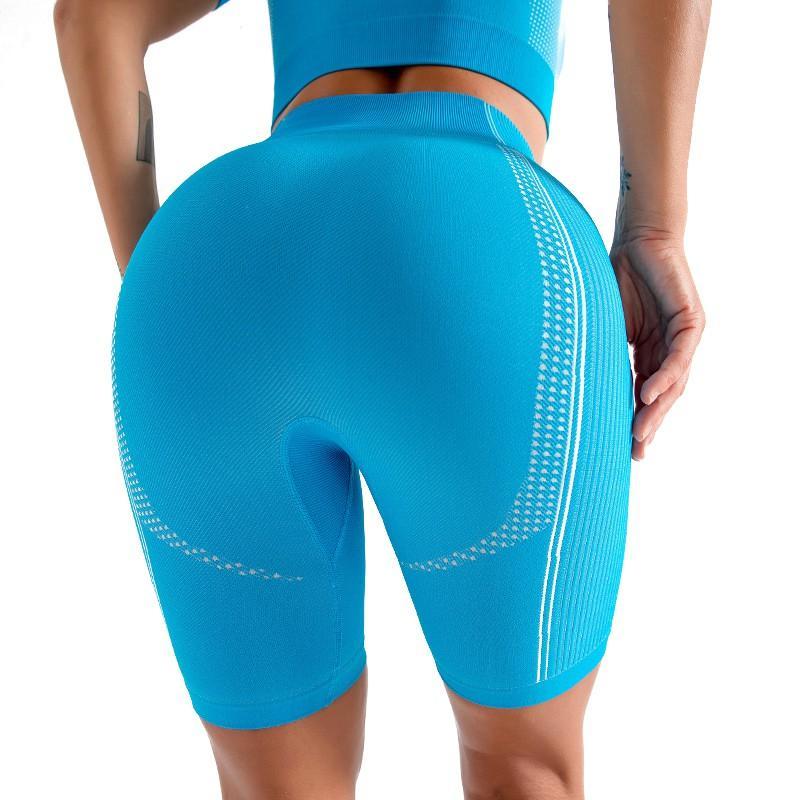 Hip-Höhe Hochelastische Sportlaufhose Women Yoga Shorts Schnell trocknend Winddichtes Schönheit Ausschnitthäkelarbeit Fitness Kleidung