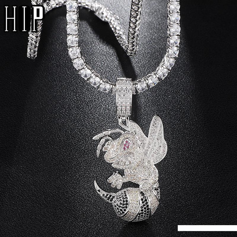 Hip Hop gefror heraus Bling KubikZircon CZ Bean Halsketten-Anhänger für Männer Schmuck mit Tennis-Kette