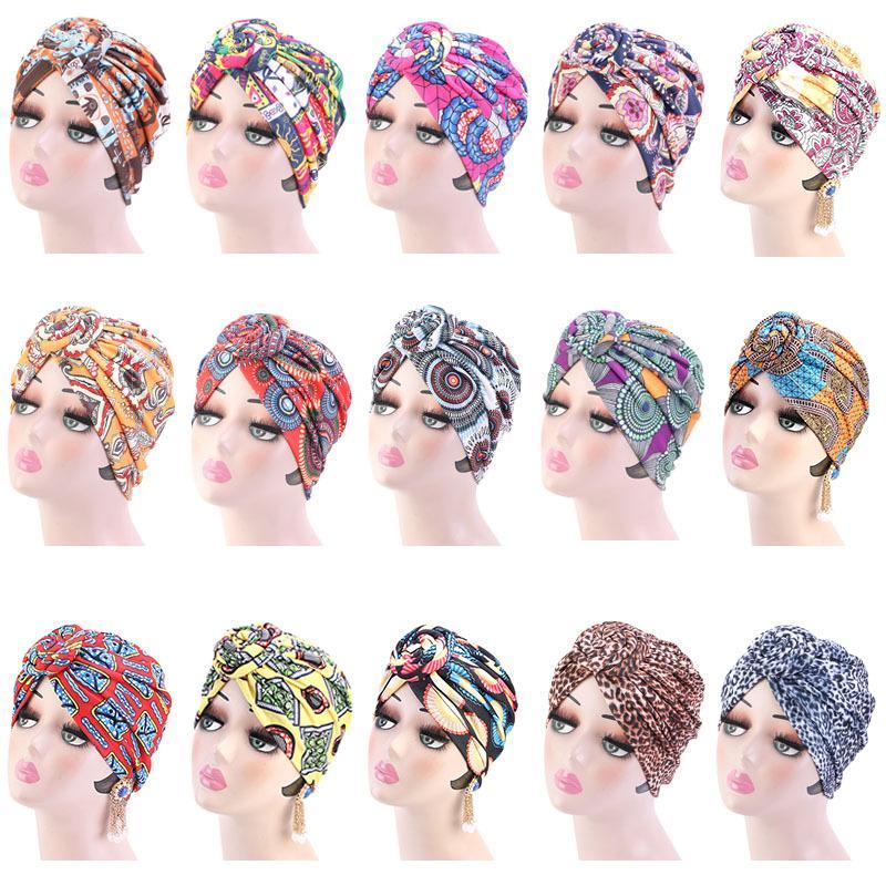 Mulheres Moda Impressão atado chapéus turbante chapéu Afica Índia Estilo muçulmana Bandanas Negras cabeça envoltório cabeça 15 cores Venda quente