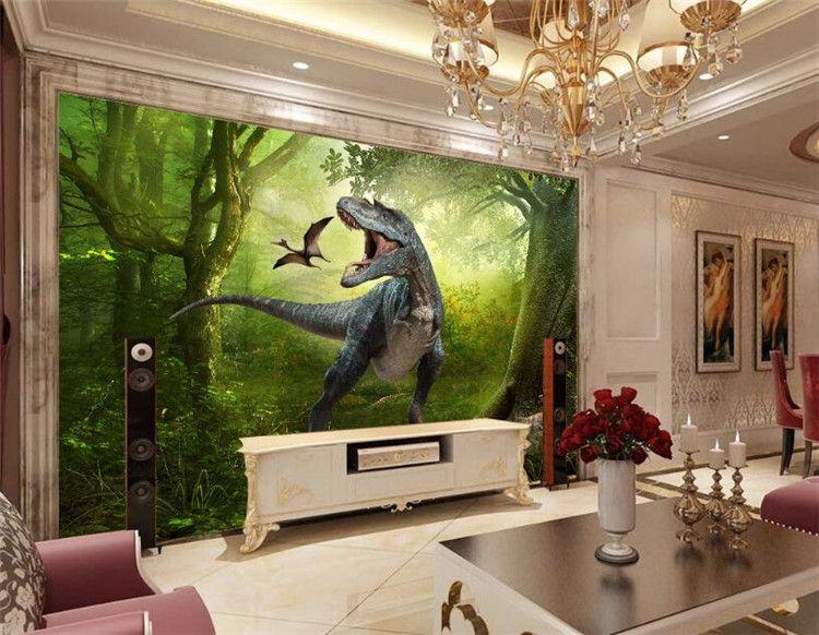 Fond d'écran 3D Jurassic Park Dinosaurs Out fond TV mur Salon Chambre fond mural photo Papel de Parede