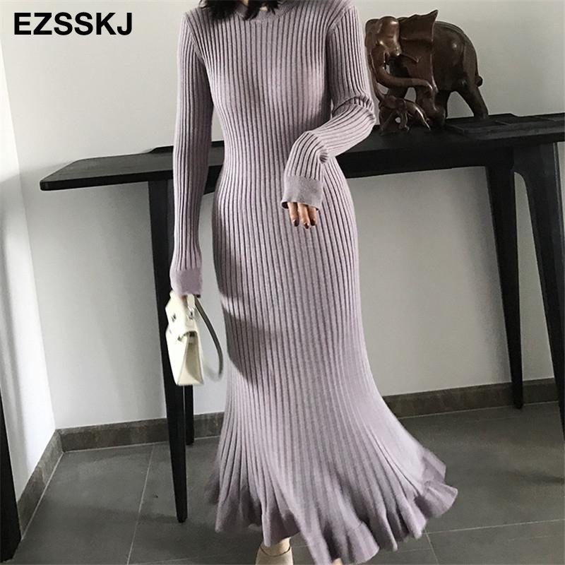 Sonbahar Kış Kalın Mermaid Maxi Kazak Elbise Kadın O-Boyun Uzun Kazak Elbise Zarif Kadın A-Line Slim Seksi Örgü Elbise 200924