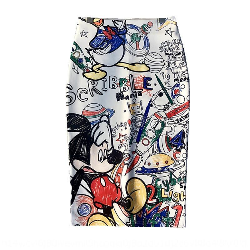 9VrCQ graffiti Version 2019 jupe populaire tablier bande dessinée jupe une étape imprimé automne jupes couvertes de la hanche une étape