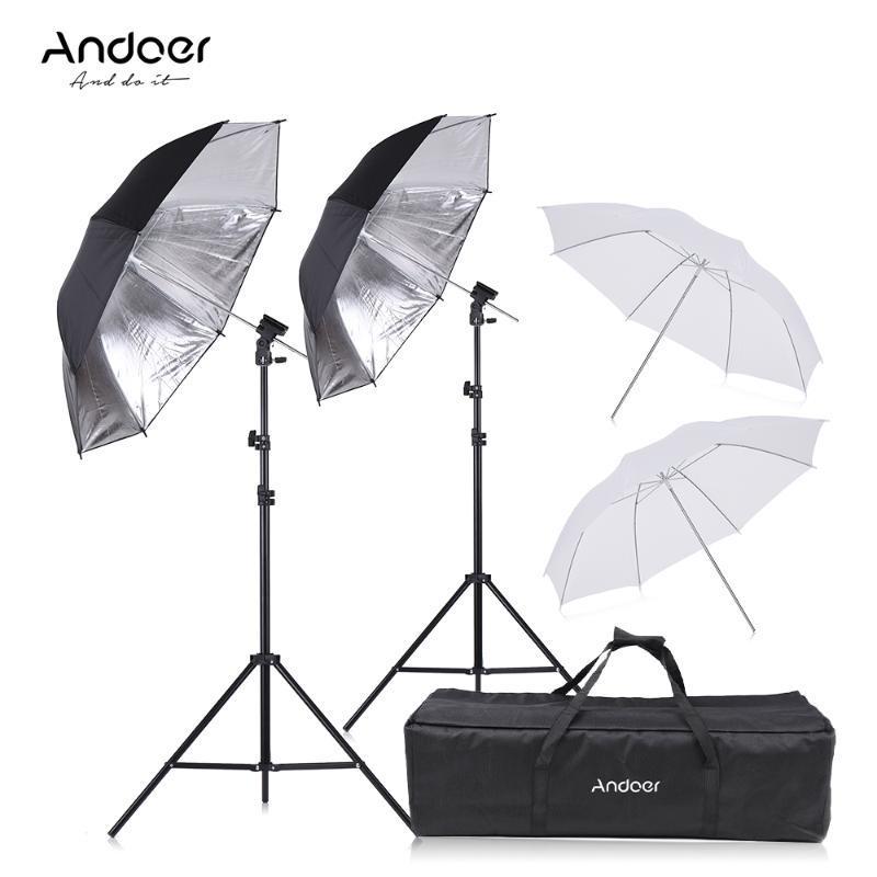 Andoer Photography Kit Camera Double Speedlight Flash Soft Umbrella Speedlite Flash Shoe Mount B-Type Brackets etc