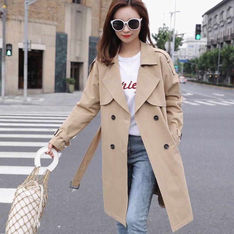 المرأة الخنادق معاطف الكاكي المرأة معطف 2021 ربيع الخريف الكورية منتصف طويل مزدوجة الصدر عارضة سترة واقية الإناث قميص