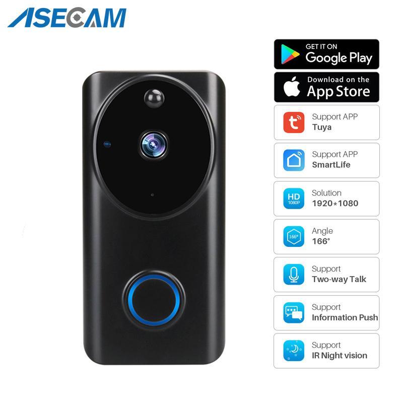 1080p WIFI-Video-Türklingel Smart Video Intercom-App-Kontrolle Telefonanruf Türglocke Home Security Monitor Nachtsichtkamera