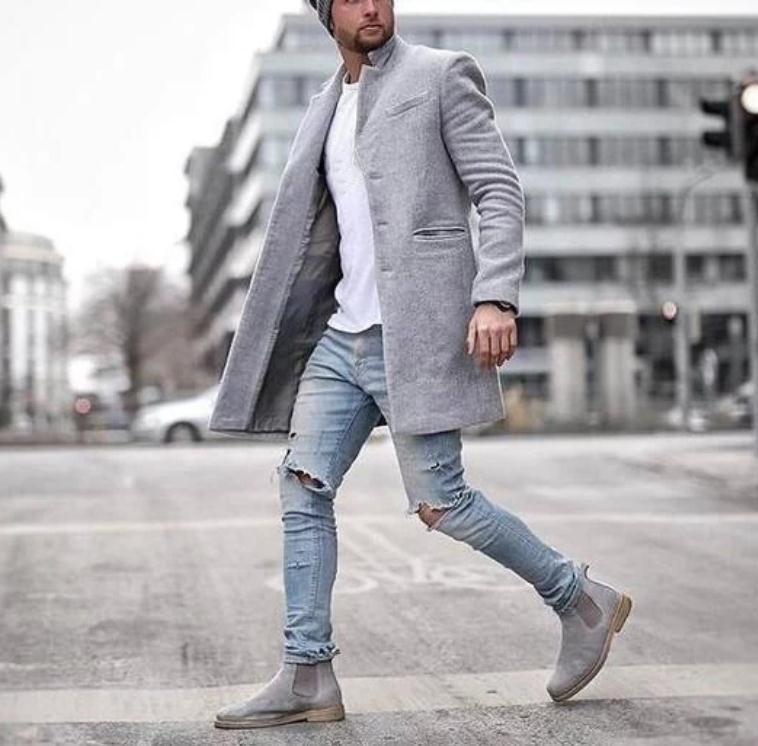 Popüler Sonbahar ve Kış Moda Trend Trençkot Kabanlar Yaka Dragon Phoenix Orta Boy Coat Hendek Erkekler