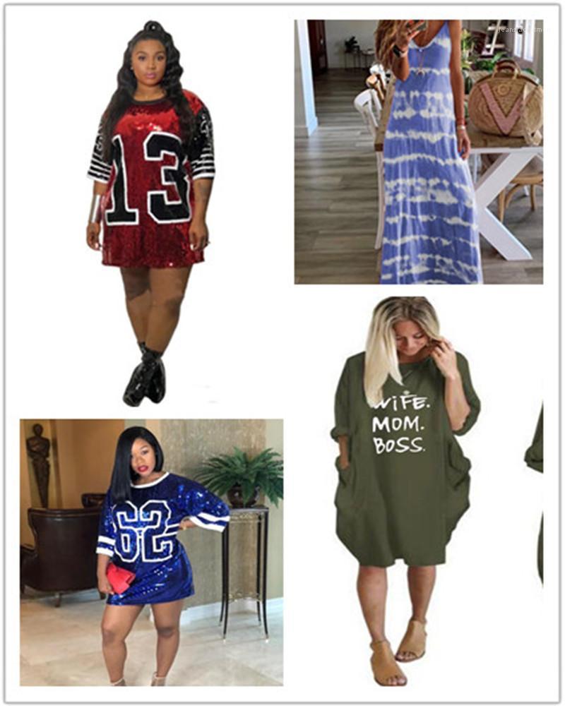 Herbst-Damen Designer-T-Shirt-Kleid Paillette Dekoration Brief gedruckt Minikleid Plus Size Damen-Bekleidung Dropshipping Mode Sommer