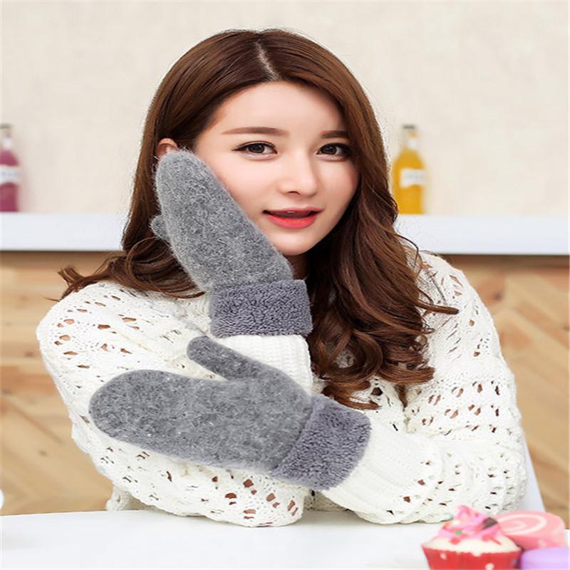 Linda del invierno guantes calientes de las lanas de las mujeres de lana caliente sin dedos Guantes de invierno manoplas Mujer nuevo diseño de color sólido