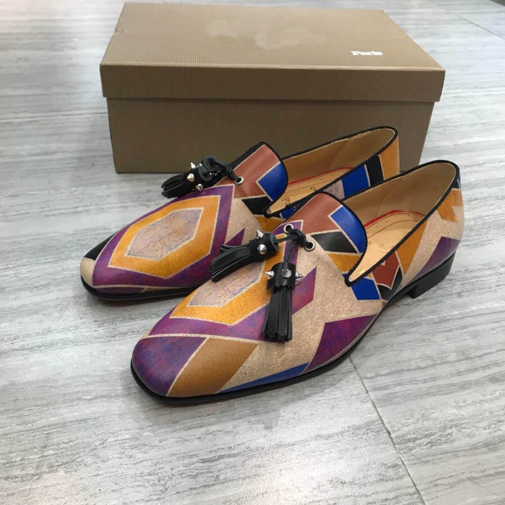 Designer slip Mens Red Bottoms partito del vestito da sposa sui fannulloni scarpe per uomo Moda fondo piatto Oxford lusso casual Sneaker Des Chaussures