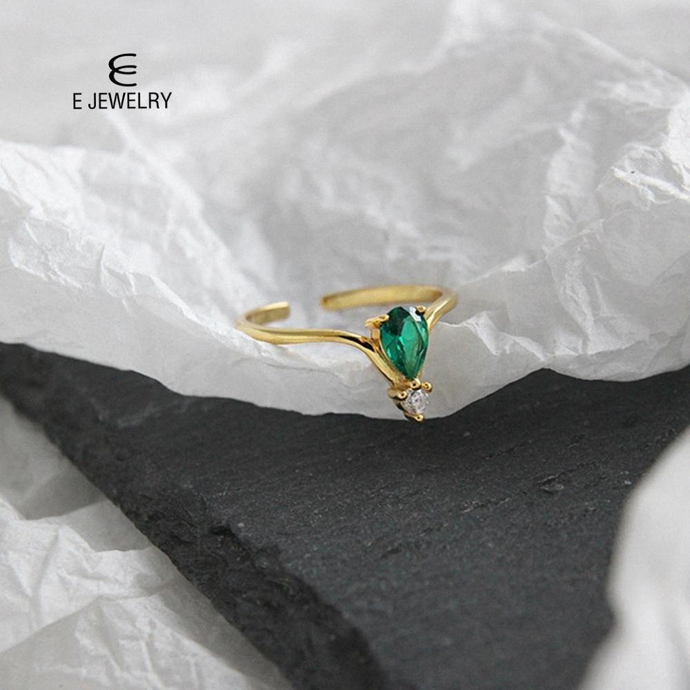 E Bijoux Argent 925 Simple et luxueuse bague femme plaqué or vert ovale pour les femmes zircons Party Bijoux 2019 Z6jo #
