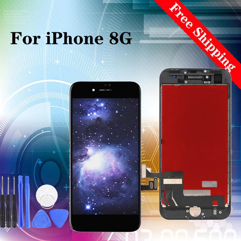 Super quality Digitizer LCD Replacement Screen Assembly for iPhone 8G lcd screen 100% Tested white black display with tempered film gift