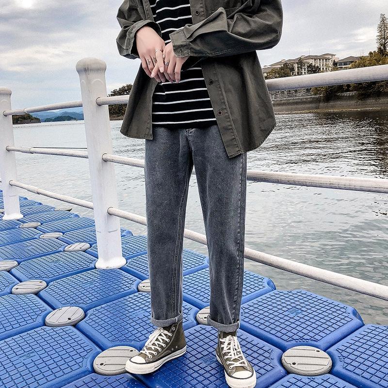 v7ciV outono calças de brim e jeans casual homens heterossexuais 2020 nova cor sólida calças soltas casuais calças harem moda homens das