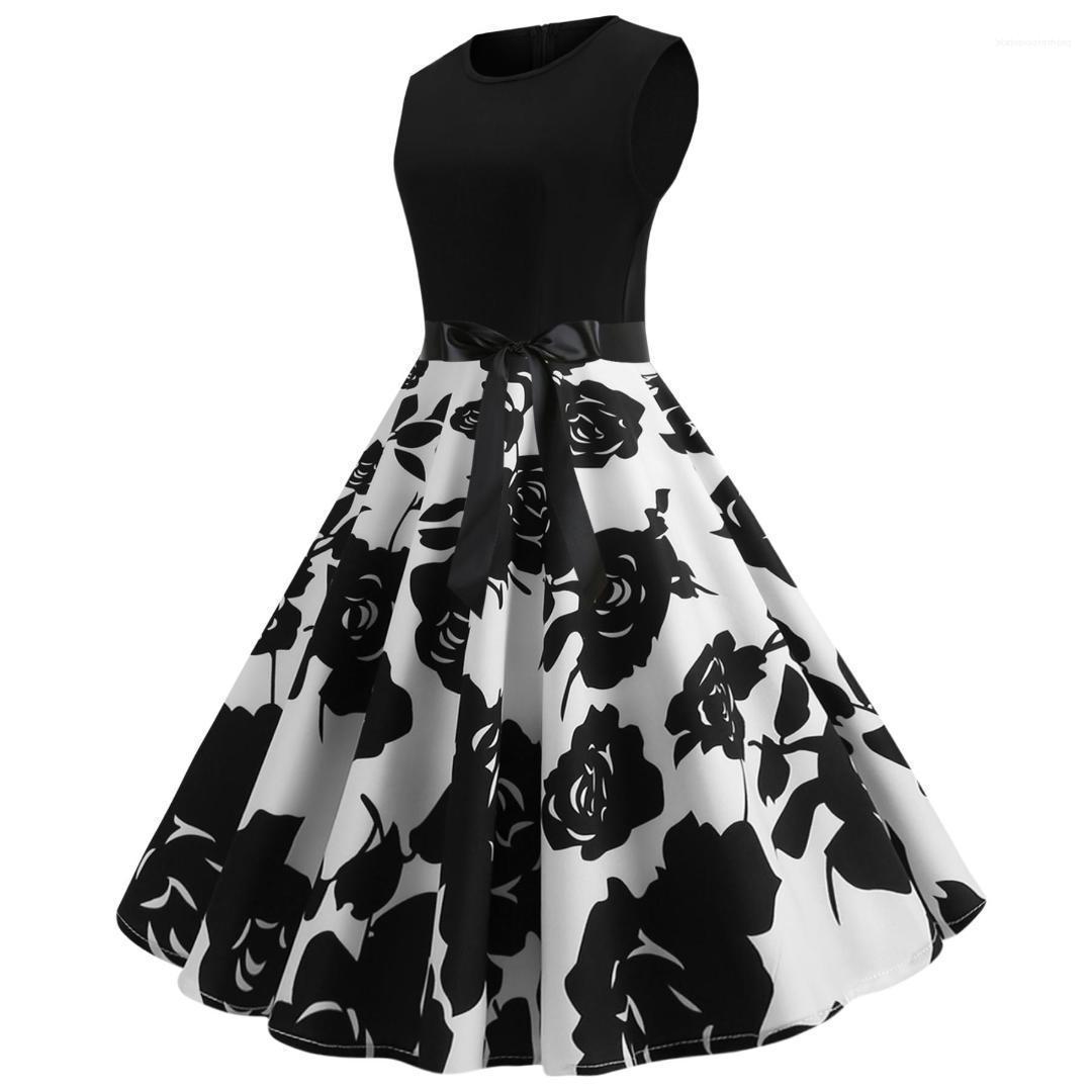 Paneles Arco femenino de la ropa elegante casual sin mangas de la vendimia vestido atractivo del verano Imprimir partido de los vestidos de cuello redondo