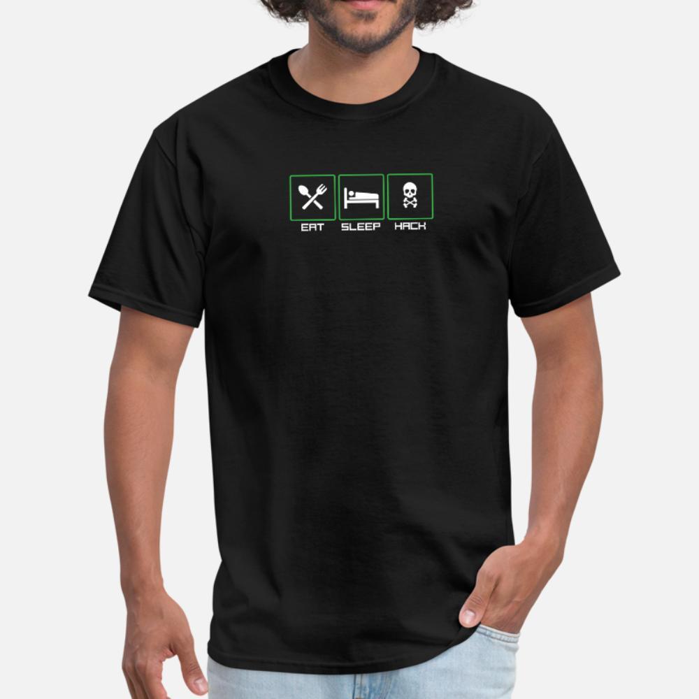 Mangiare camicia sonno hacker uomini della maglietta di cotone Character euro formato signori S-3XL regalo comico estate Kawaii