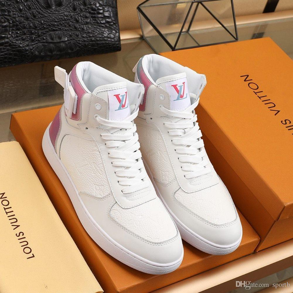 2020 F2-Qualitätmens-klassischer High Top Freizeitschuhe Leder Lace-up Mode Luxus-Designer-Schuhe Handsome Mens Sneakers Original Kasten