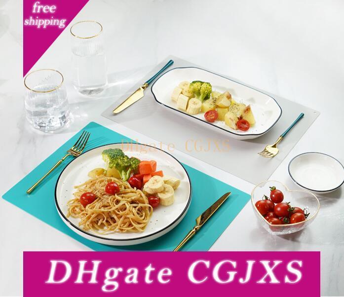Silicone Placemats não Slip resistente ao calor Tabela Mats Crianças Placemats lavável para mesas de jantar Decoração Acessórios 15 * 11 polegadas
