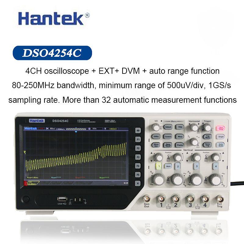 HANTEK الذبذبات الرقمية DSO4254C 4 قنوات 250Mhz عرض النطاق الترددي LCD PC المحمولة USB الذبذبات 1GS / ثانية معدل عينة
