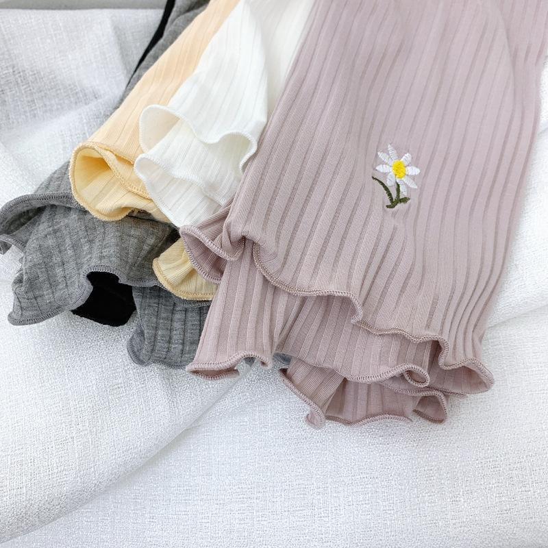 nuevo color sólido de curling pantalones de los pantalones de seguridad de seguridad 4GAYy de primavera y verano del bordado de imitación bordado margarita polainas luz chrys de las mujeres
