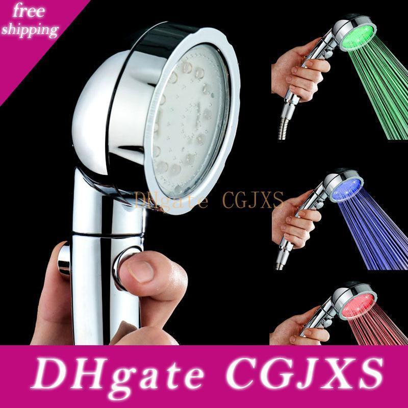 Di alta qualità Colorful Glow Discharge idrico Tipo risparmio doccia regolabile testa pioggia Chrome Soffione doccia Bagno