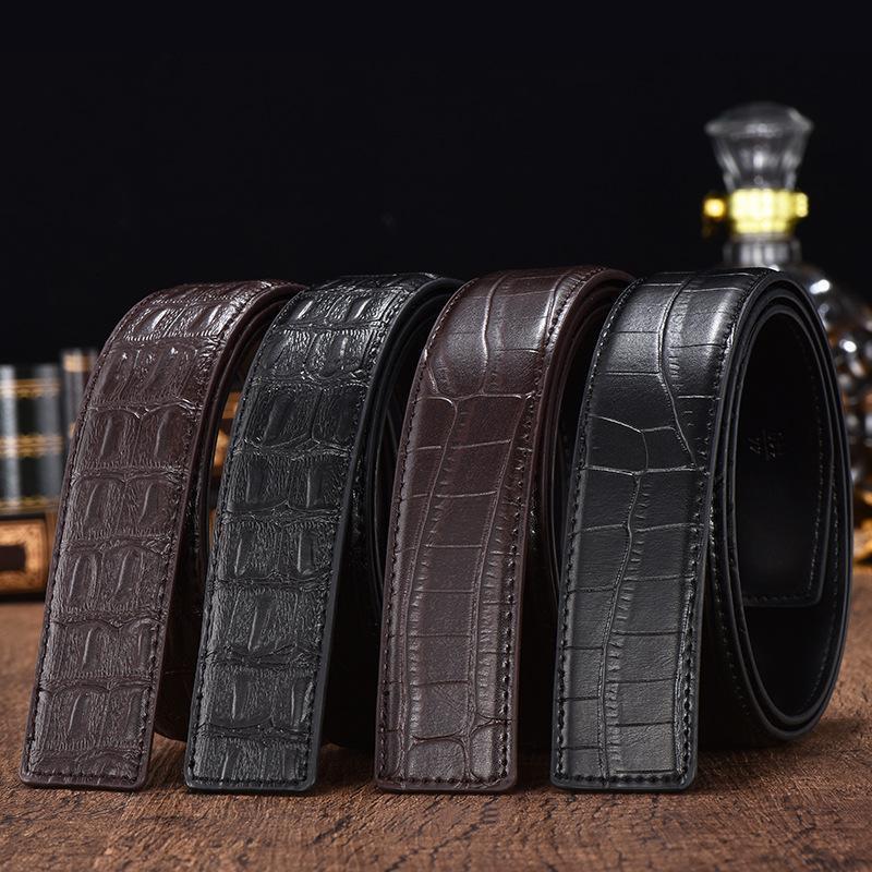 Couro genuíno Cintos Crocodile alta qualidade para Automatic Buckle Man Belt Couro Cintura Jeans KZM006