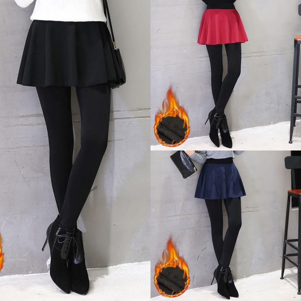 Novas estilo coreano inverno de lã das mulheres bolha leggings saia calças saia falso de duas peças de inverno fleece engrossado