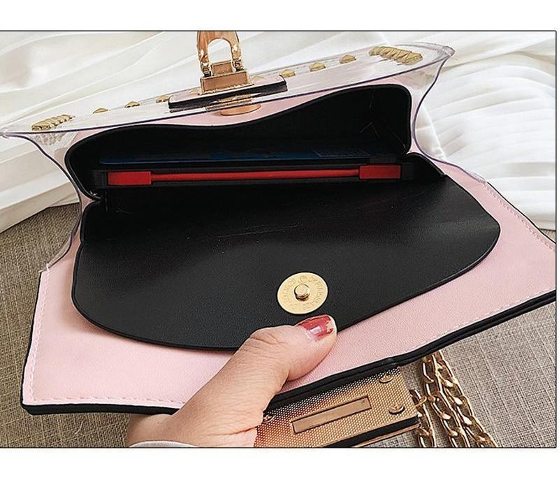 Remaches 2019 Mujer Bolso Nuevo Hombro Femenino Bolsa Cuadrado Messenger Bag Transparente Pequeñas Cadenas de Moda PU Borrar UACQJ