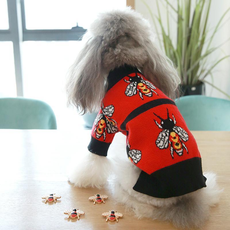 Cute Bee Печатные Животные Свитера Мода Soft Touch Pet фуфайки Фестиваль Прекрасные Шарм шнауцеры Бишон пальто Одежда