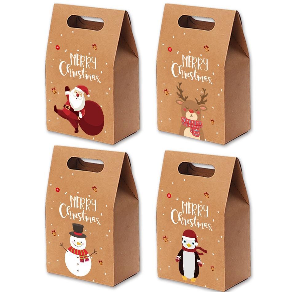 Regalo di Natale Borse Xmas Vintage carta kraft partito Caso Candy Apple Gift Bag mano avvolta rifornimenti di favore del pacchetto del partito della decorazione LJJP427