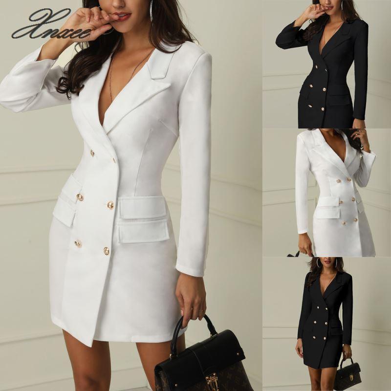Sonbahar Kış Suit Blazer Kadınlar 2020 Yeni Casual Çift Breasted Cep Kadınlar Uzun ceketler zarif Uzun Kollu Blazer Ceketler