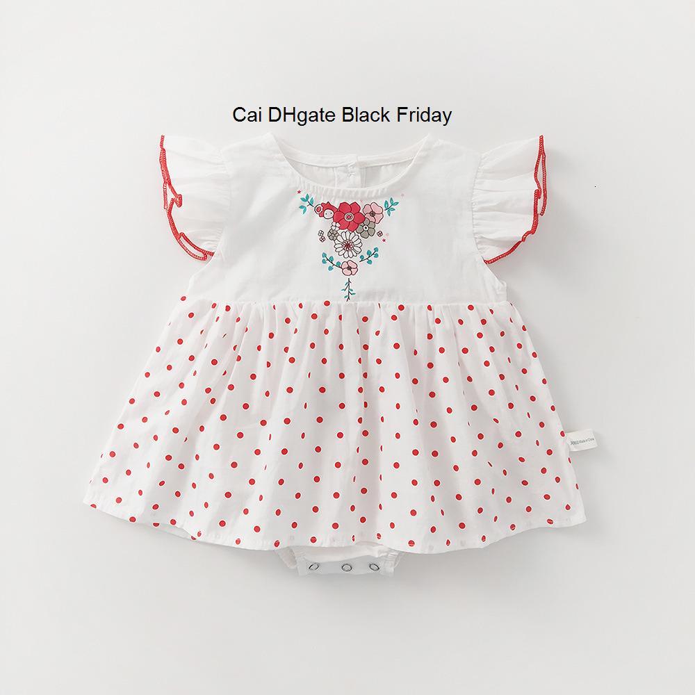 2020 Yenidoğan Bebek Kız Romper elbise Yaz Bebek Polka Dot Fly Kol Prenses Elbise Kız Dantel Bebek Kız Jumpsuit Kıyafetler