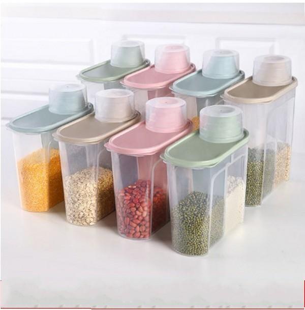 PP تخزين الأغذية مربع من البلاستيك واضح الحاويات تعيين مع صب اغطية خزائن المطبخ زجاجات الجرار المجففة الحبوب خزان 1.9L-2.5L