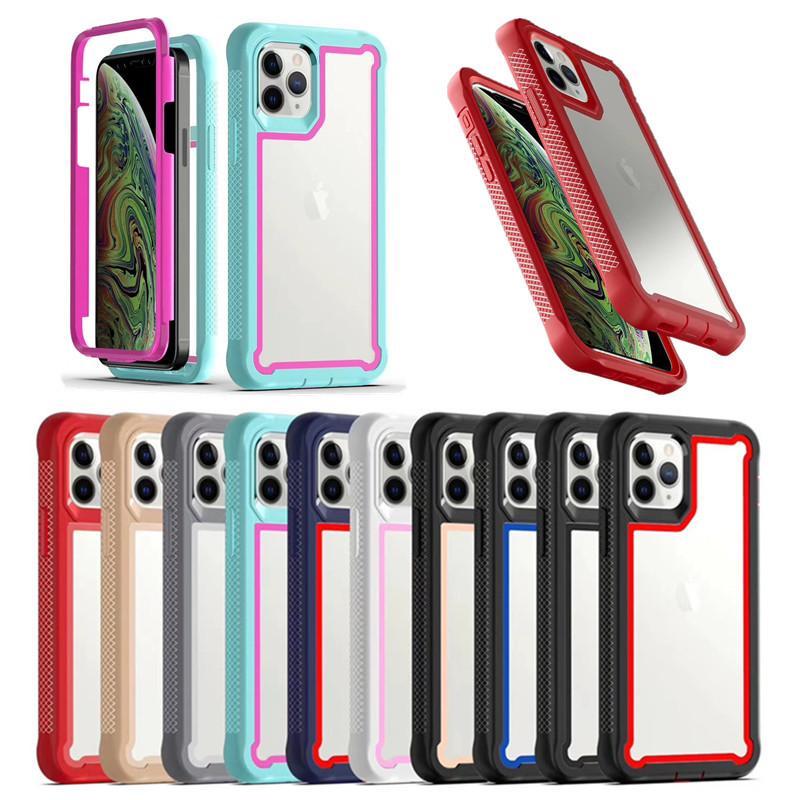 Casas claras de la armadura a prueba de golpes para el iPhone 12 Mini 11 Pro Max XR XS 6 7 8 Plus Se Samsung S21 S30 Ultra S20 A21S A10S A21 A11 A51 A71 Note 20 A32 4G A52 A72 5G TPU PC Funda