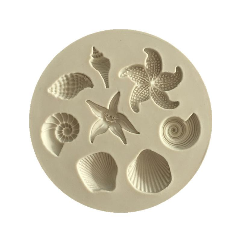 Étoile de mer gâteau moule océan biologique mer Conch Shells Gâteau au chocolat Moule silicone Moule chocolat bricolage Cuisine liquide gâteau Outils WB2588